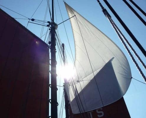 Sunlight through a topsail - image for SchoonerSail Tall Ships Holidays