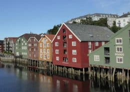Warehouses on the river, Trondheim, Norway.