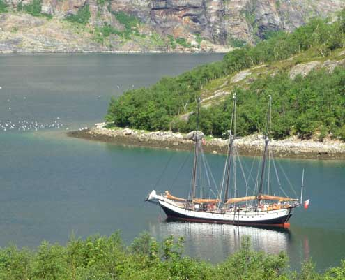 A schooner at anchor, Arctic Circle Norway