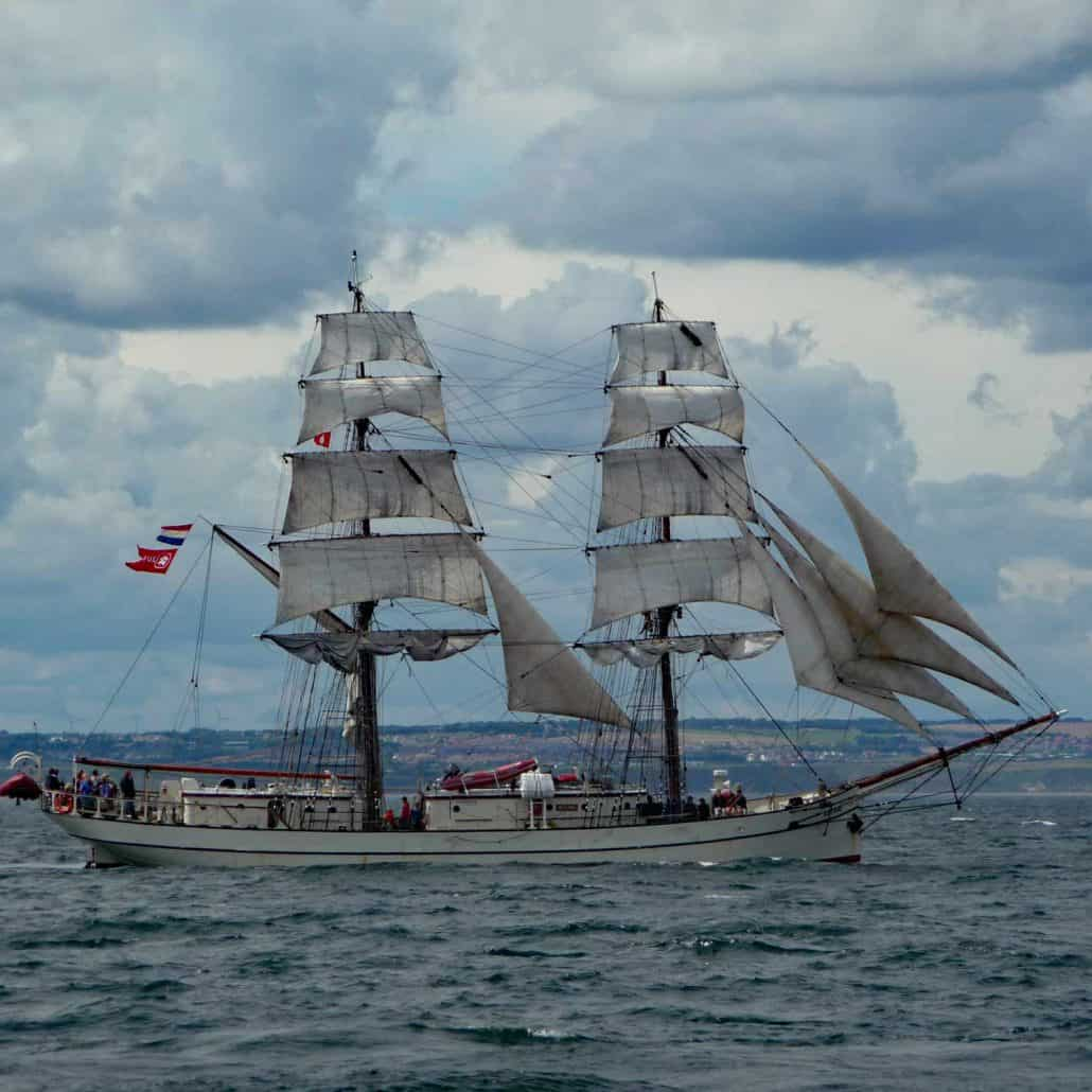 The brig Astrid photographed in the Parade Of Sail, Hartlepool 2010. Unfortunately the Astrid sank in 2013. SchoonerSail Tall Ships Gallery.