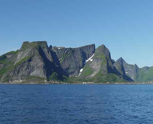 View from the sea of Lofoten, Norway.