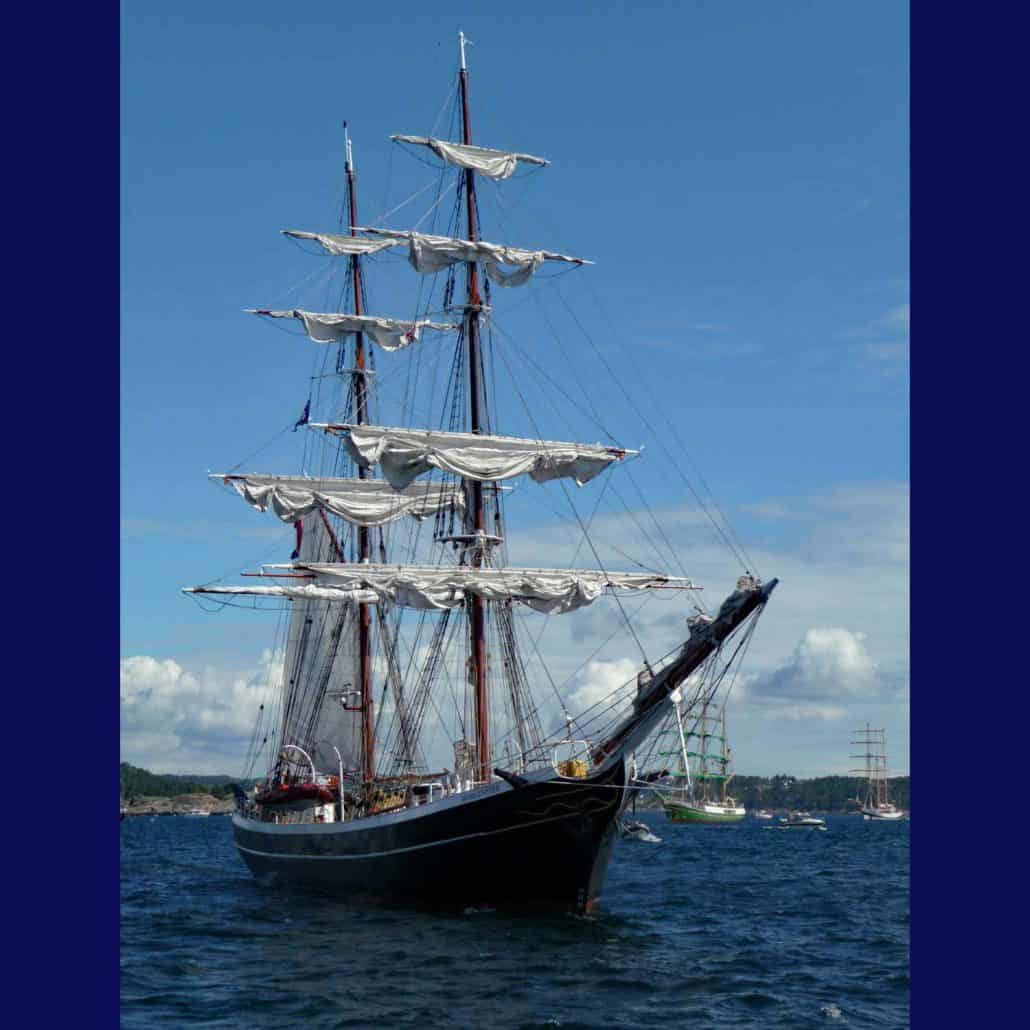 The brig Morgenster photographed in the Parade Of Sail, Kristiansand 2010. SchoonerSail Tall Ships Gallery.
