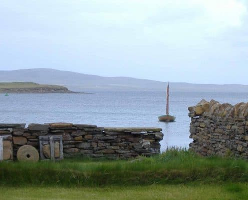 Orkney sailing boat, harbour view near Stromness.