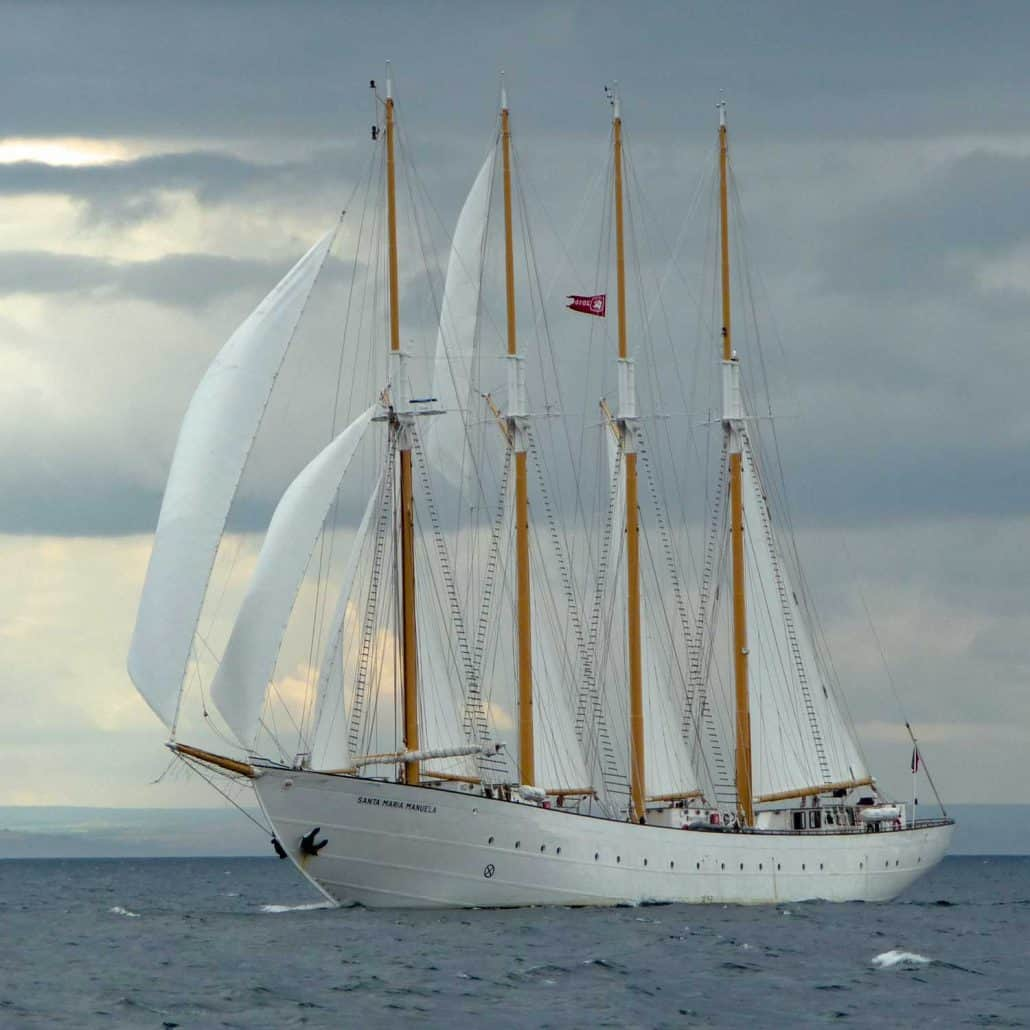 The four masted schooner Santa Maria Manuela bows on, sailing in the North Sea Tall Ships Regatta, 2010.. SchoonerSail Tall Ships Gallery.