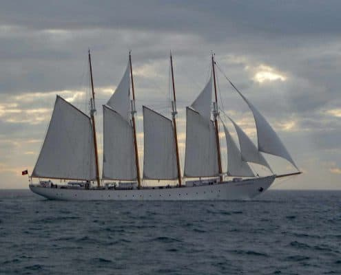The four masted schooner Santa Maria Manuela sailing in the North Sea Tall Ships Regatta, 2010.. SchoonerSail Tall Ships Gallery.