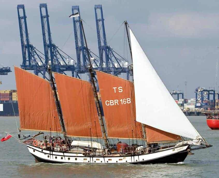 Schooner Trinovante on a sailing weekend sailing past Felixstowe Docks.