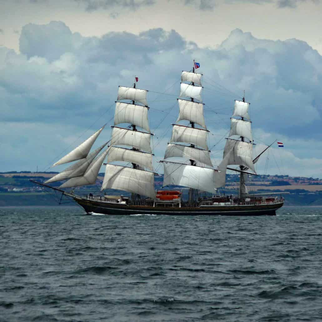 The Dutch ship Stad Amsterdam photographed in the Parade Of Sail, Hartlepool 2010. SchoonerSail Tall Ships Gallery.