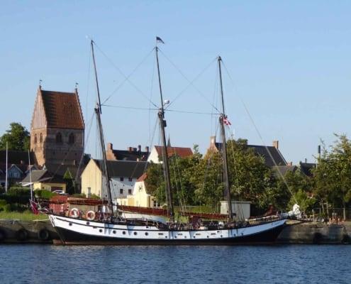 Schooner Trinovante, alongside a quay, Stubbekobing, Denmark.