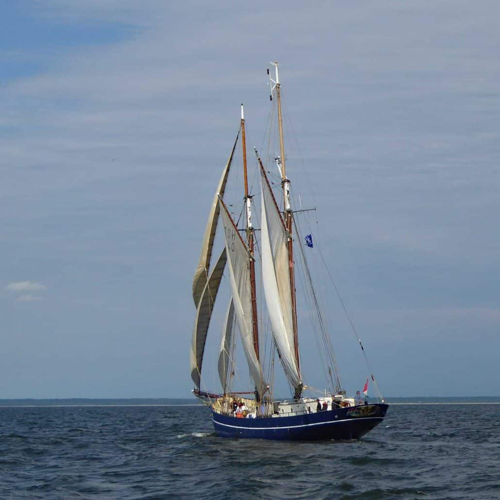De Gallant, Dutch Schooner, beam on at the start of a Baltic Sea Tall Ships Race, 2017.De Gallant, Dutch Schooner, beam on at the start of a Baltic Sea Tall Ships Race, 2017. SchoonerSail Tall Ships Gallery.