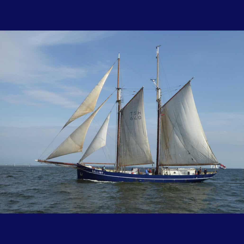 De Gallant, Dutch Schooner, beam on at the start of a Baltic Sea Tall Ships Race, 2017. SchoonerSail Tall Ships Gallery.