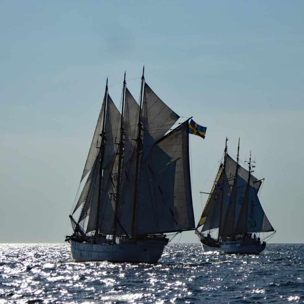 The Swedish schooner Ingo and the Polish Wishbone schooner Zawisza Czarny, photo taken in 2017. SchoonerSail Tall Ships Gallery..