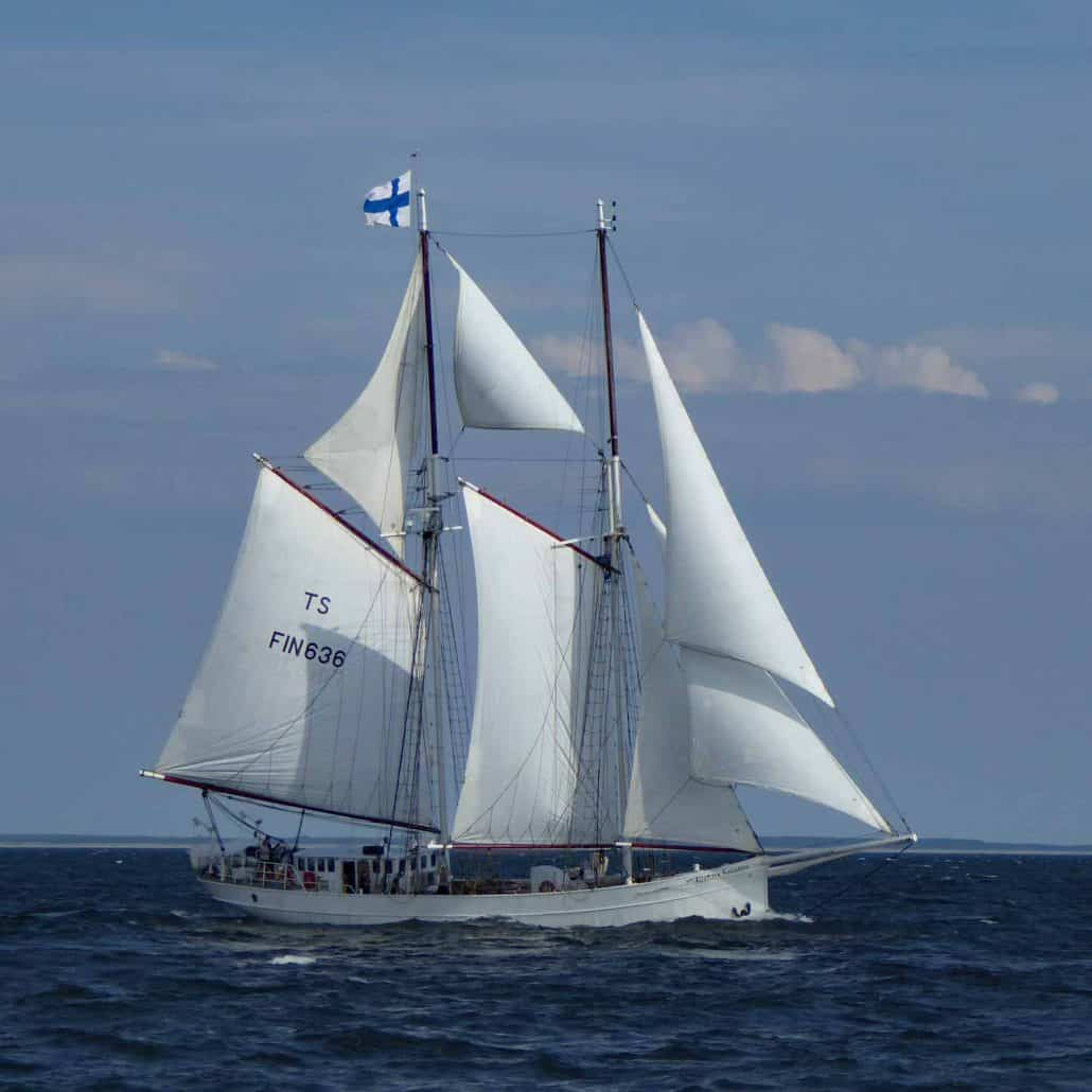 Joanna Saturna, two masted schooner, start of the Tall Ships Race, Baltic Sea 2017. SchoonerSail Tall Ships Gallery.