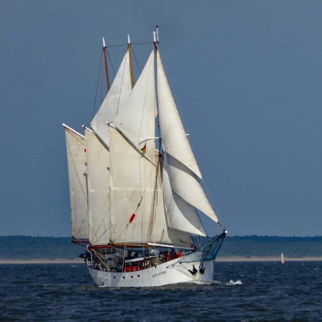 Kapitain Borchadt, three masted schooner, start of Tall Ships Race 2017. SchoonerSail Tall Ships Gallery.
