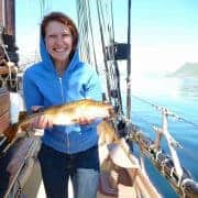 Adventure sailing Norway, catch your own haddock for dinner.