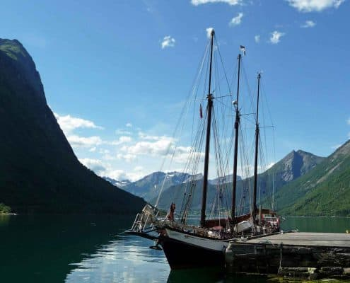 The old quay, Øye near Alesund Norway. Tall Ship Adventure Sailing.
