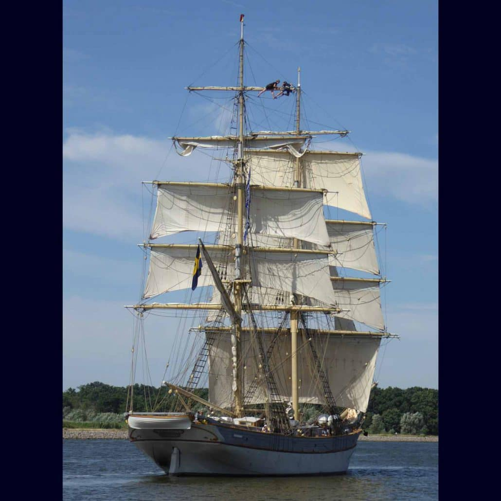Tre Kroner a Swedish brig photographed leaving Szczecin, Poland in 2017. SchoonerSail Tall Ships Gallery