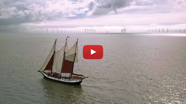 A drone video of the schooner Trinovante sailing off Clacton. Essex.
