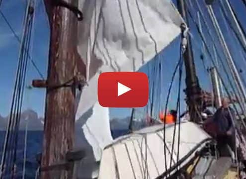 Sailing video setting a topsail on a schooner.
