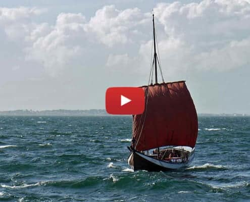 A nordlands bat sailing into Trondheim Fjord in a good breeze. Sailing video image - large