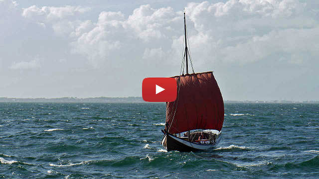 A nordlands bat sailing into Trondheim Fjord in a good breeze. Sailing video image
