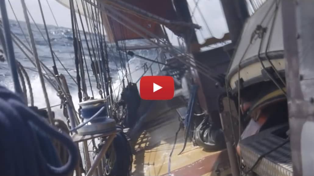 Wild And Windy Weather Video taken on an offshore voyage on the schooner Trinovante, in the North Sea.