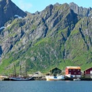 The schooner Trinovante alongside a quay in Lofoten, Norway