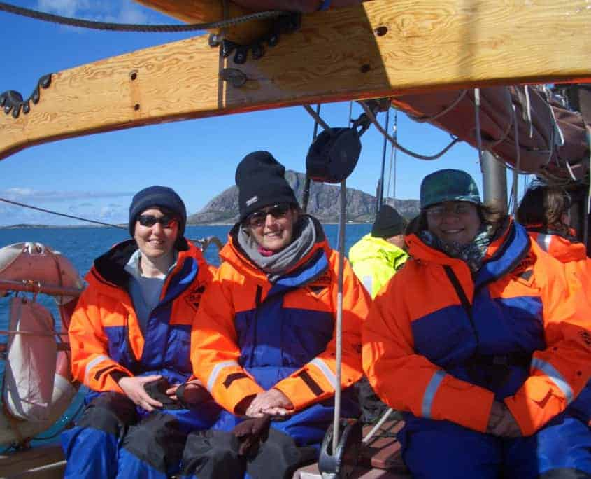 Sailing In Norway all wrapped up warm in Fladen Flotation Suits