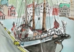 A painting of the schooner Trinovante alongside a quay in Bergen Norway