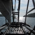 Looking out from the bowsprit through islands in Norway
