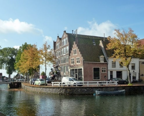 Typical Dutch canal houses in the Netherlands