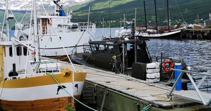 Trinovante alongside the quay at the boatyard in Gratangen, Norway