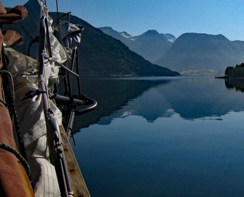 The bowsprit of a schooner, Hardanger Fjord, Norway.