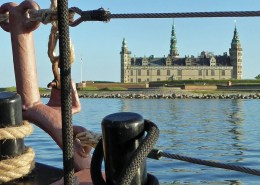 Kronborg Castle, Helsingor, Denmark seen from the deck of a sailing ship