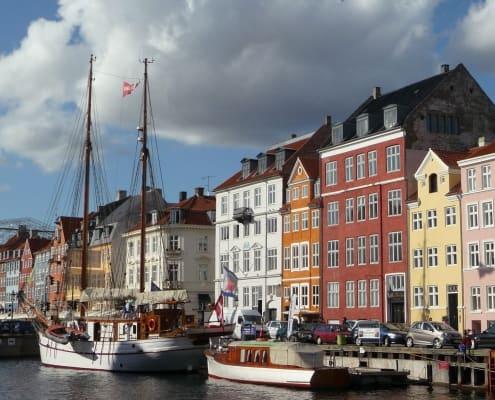 Ships moored at Nyhavn, Copenhagen Denmark