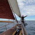 Standing on the bowsprit