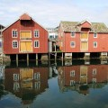 Traditional wooden buildings in a harbour, Norway