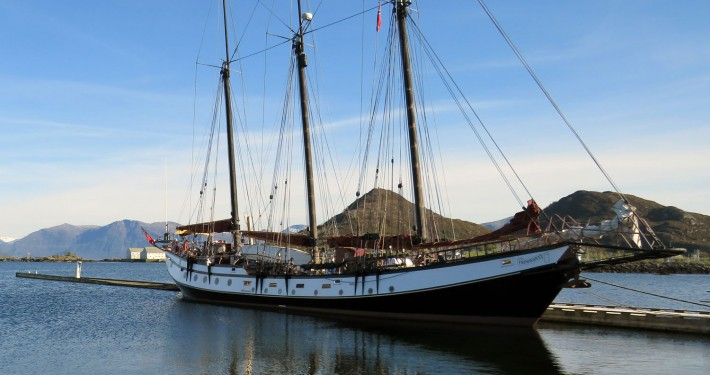 Trinovante in the island harbour of Sandshamm, Norway.