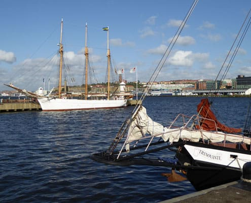 Bow of the Schooner Trinovante with the Swedish schooner INGO in the background.