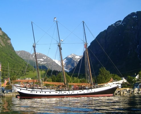 The soner Trinovante alongside the quay at Sundal, Hardanger fjord, Norway