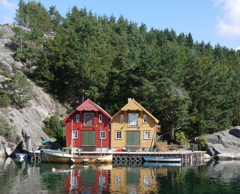 Typical boathouses in Sweden