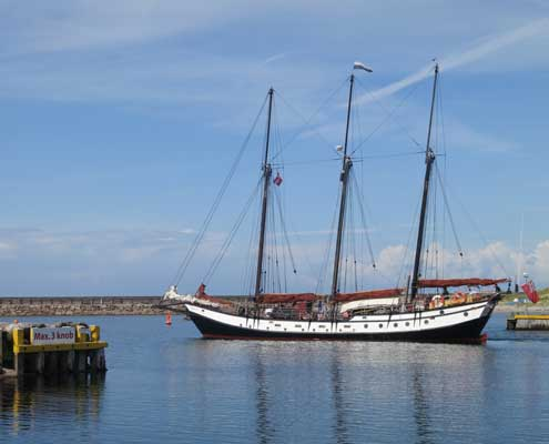 A Tall Ship leaving Anholt harbour - Denmark
